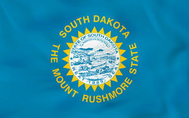 South Dakota waving flag. South Dakota state flag background texture.