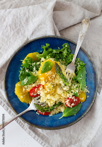 """Couscous salad With orange, spinach leaves, asparagus ..."