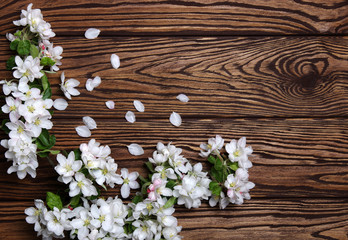 Spring flowers on wood