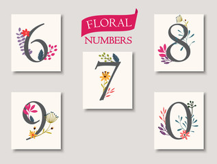 set of beautiful flowers and numbers for wedding invitations and birthday cards