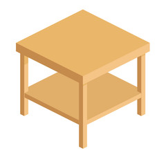 coffee table with shelf for books in a flat 3d style.wooden square table with shelf in isometric view,simple empty table isolated on white background, vector illustration