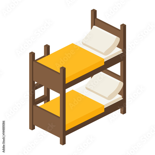 Wooden Bunk Bed With Stairs In Isometric View For Children In A Flat