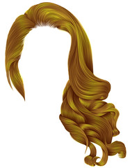 woman trendy long curly hairs wig bright yellow colors .retro style . beauty fashion . realistic 3d .