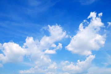 White clouds in the blue sky with space background