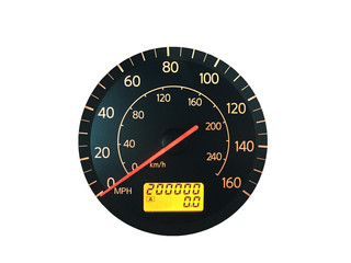 High Mileage Odometer Isolated on White