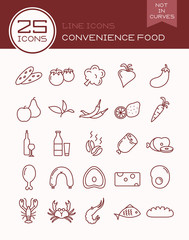 Line icons convenience food