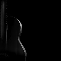 Silhouette of classical guitar with copy space.
