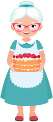 Elderly housewife grandmother wearing glasses and apron holding a homemade cake