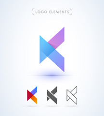 Abstract origami letter K logo template. Application icon and corporate identity set.