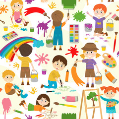 seamless pattern with drawing  elements and characters - vector illustration, eps