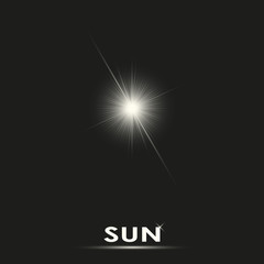 Realistic sun vector illustration on black background.