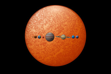 Eight planets and the sun 3d illustration. Solar system objects size comparison.