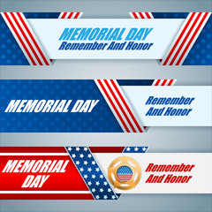 Set of web banners design, background with military badge and American flag, for Memorial day event, celebration