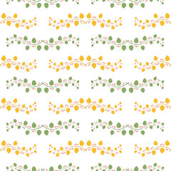 Colorful branches seamless pattern with leaves and berries.