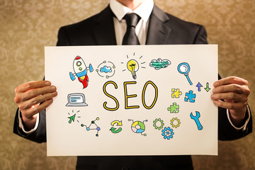 SEO text with businessman