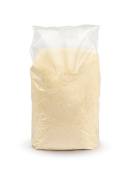 Transparent bag of semolina isolated with clippng path. Semolina package. Mockup.
