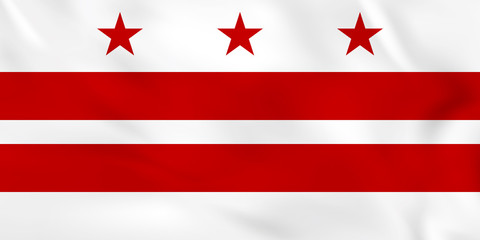 District of Columbia waving flag. District of Columbia state flag background texture.