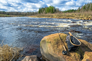 Spring fishing scenery of Swedish trout river