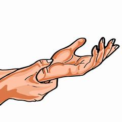 Hand measuring heart icon