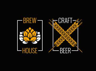 beer logo set design background