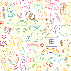 seamless pattern with child drawings- vector illustration, eps