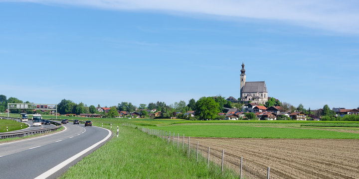 Parish Catholic Church in Bavarian small town Anger near highway