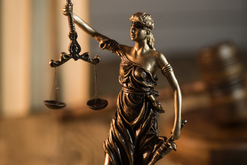Law concept. Hammer of Judge. Justice scale