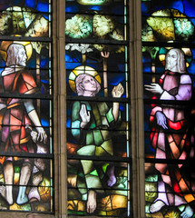 Fototapete - Stained Glass - Jesus on the Apostles