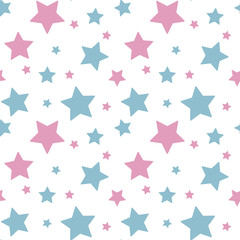 pastel colorful star pink blue on white background pattern seamless vector