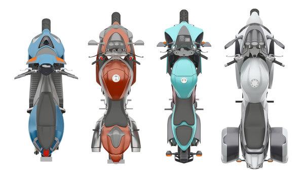 group motorcycles top view 3d rendering