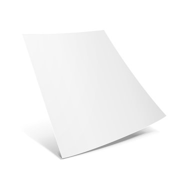 Blank Paper Leaflet, Flyer, Broadsheet, Flier, Follicle, Leaf With Shadows. On White Background Isolated. Mock Up Template Ready For Your Design. Vector EPS10