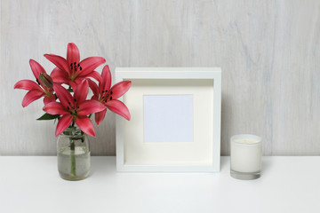Empty modern style frame, home decor.
