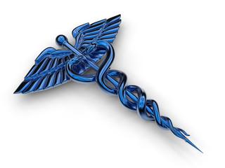 3D concept - isolated blue caduceus