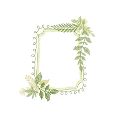 Frame with greenery plant leaves decoration vector. Hand drawn branch card design
