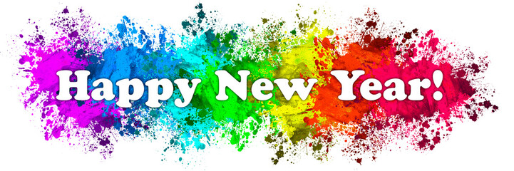 Paint Splatter Words - Happy New Year