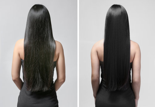 Beautiful young woman with long straight hair on light background