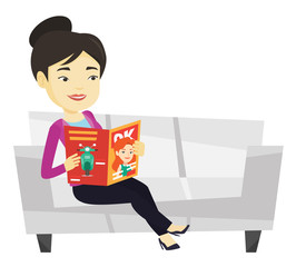 Woman reading magazine on sofa vector illustration