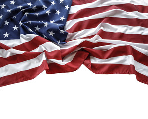 USA flag on white. Copy space