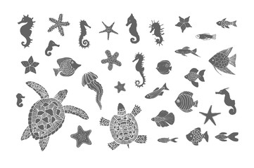 Hand drawn sketch set of turtles, jellyfish and other sea animals. Vector illustration