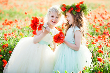 little girl model, childhood, fashion, summer concept - girly games on the field of poppies, laughing girls in white and blue dresses with a flowers and a wreath of poppy on the head