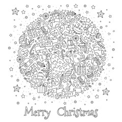Pattern for coloring book. Christmas hand-drawn decorative elements in vector.