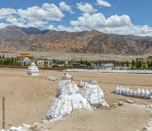White stupas park of Shay Gompa - Tibet, Kargil District