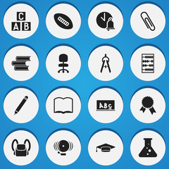 Set Of 16 Editable Graduation Icons. Includes Symbols Such As Staple, Oval Ball, Math Tool And More. Can Be Used For Web, Mobile, UI And Infographic Design.