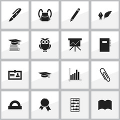 Set Of 16 Editable School Icons. Includes Symbols Such As Certification, Literature, Arithmetic And More. Can Be Used For Web, Mobile, UI And Infographic Design.