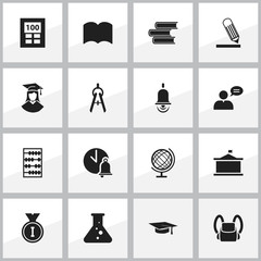 Set Of 16 Editable Graduation Icons. Includes Symbols Such As Schoolbag, Graduated Female, School Bell And More. Can Be Used For Web, Mobile, UI And Infographic Design.