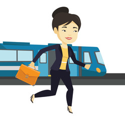 Businesswoman at train station vector illustration