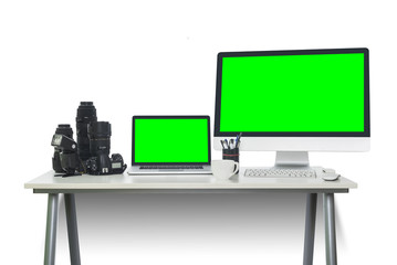 Photographers workspace with chroma key