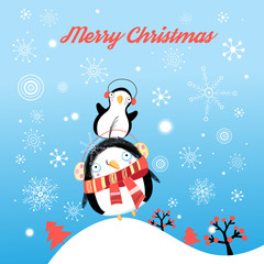 Funny Christmas card with penguins