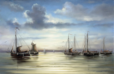 Fishermens, boats, ships.Sea landscape paintings.