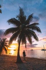 Man standing on beach by palm trees and sea at sunset, Mo'orea, South Pacific